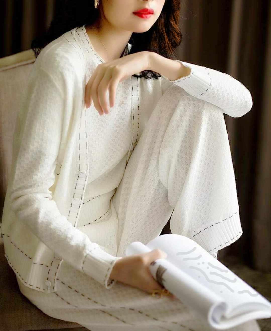 Роскошный дизайнерский женский модный топ с круглым воротником + однобортный кардиган с длинными рукавами + широкие длинные штаны вязаный повседневный костюм из 3 предметов