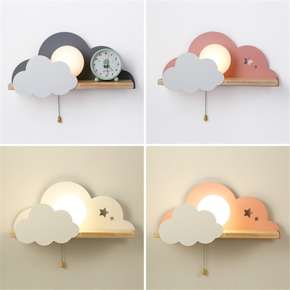 Nordic Cloud Wood Shelf Wall Lamp With Pull Switch Children Bedroom Bedside Night Light Study Corridor