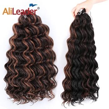 """""""Leeons Freetress Water Wave włosy plecione szydełkowe warkocze 20 Cal/80G fala oceaniczna szydełkowe włosy syntetyczne włosy Canecalon"""