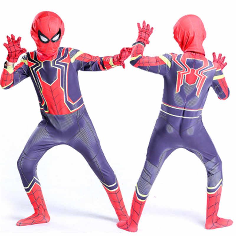 Infinity War Spiderman Kids Jumpsuit Cosplay SpiderMan Mask Bodysuit