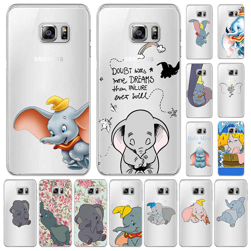 Cartoon Cute Animal Dumbo baby Para Samsung Galaxy S6 S7 S8 S9 A7 2018 PLUS EDGE NOTE 8 9 Anti Fall Animados 3d silicone Cover