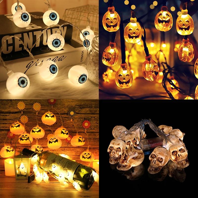 Ornamento de Halloween Decor 1,5m 10LED Halloween Pumpkin Santo esqueletos Bat Aranha Pisca-Pisca LED Festival Bar partido Home