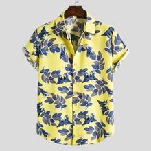 Męskie hawajskie koszule na co dzień z krótkim rękawem etniczny nadruk bluzka koszula kostiumy kąpielowe fajne cienkie oddychające koszule męskie męskie koszulki tanie tanio Poliester Skręcić w dół kołnierz Pojedyncze piersi REGULAR men shirts Suknem Drukuj