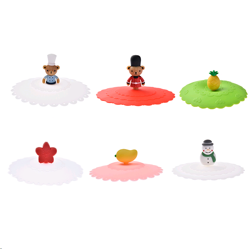 Silicone Leakproof Cup Lids Heat Resistant Reusable Bear Snowman Sealed Cover Kitchen Accessories Tea Cup Seal Cap Cup Lids