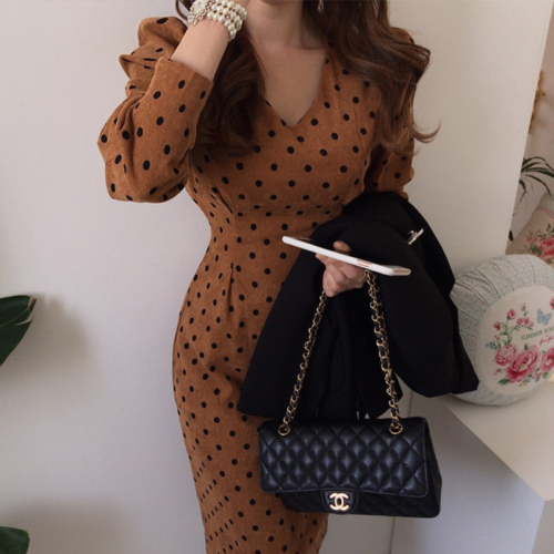French style Spring autumn Women Casual Polka Dot Print A-Line Party Corduroy Dresses Eleagnt lace-up Slim Dress Fashion 4