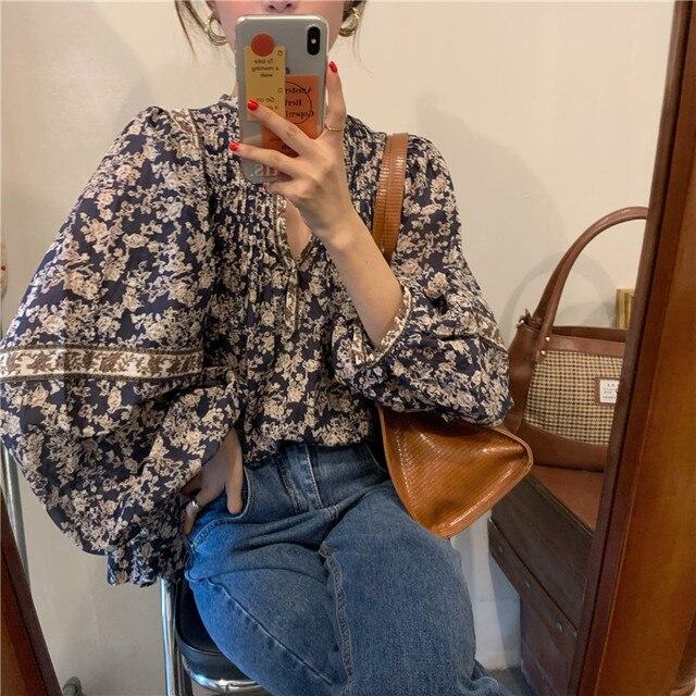 Gagarich Women Shirts 2021 Spring Autumn Korean Vintage Elegant Female Lantern Sleeve V-Neck Flower Printed Design Blouses 5