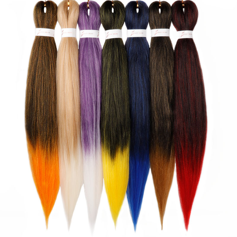 Pre Stretched Braiding Hair Ez Braid Hair Ombre Synthetic Braiding Hair Extension Box Braids HairColors Crochet Braids Kanekalon
