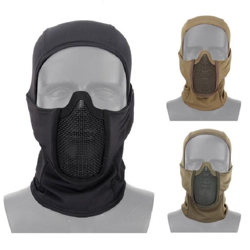 Tactical Airsoft Cycling Steel Net Full Face Mask Sunscreen Dust-proof Head Cover