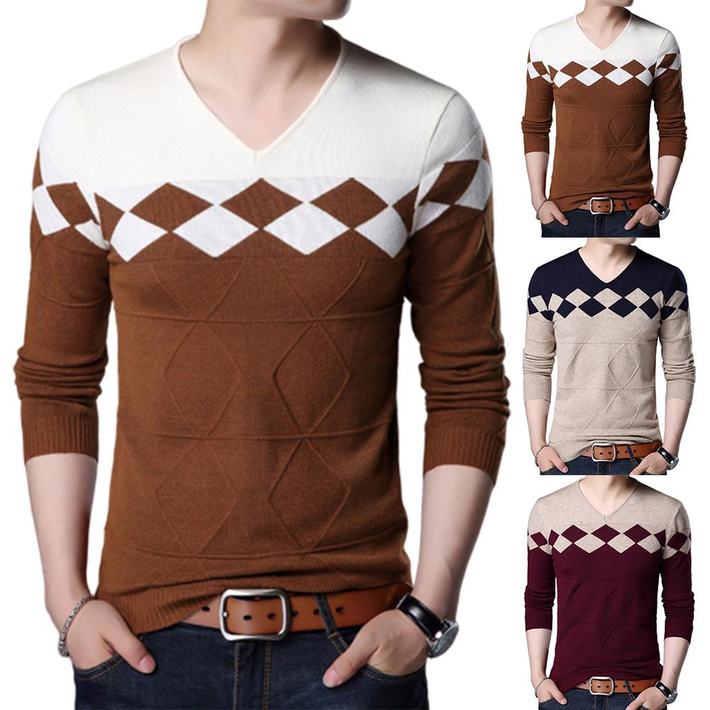Autumn Chic Sweater Men Knitwear Fashion Contrast Color Slim Stretch Pullover Top Business Casual Long Sleeve V-Neck Sweater