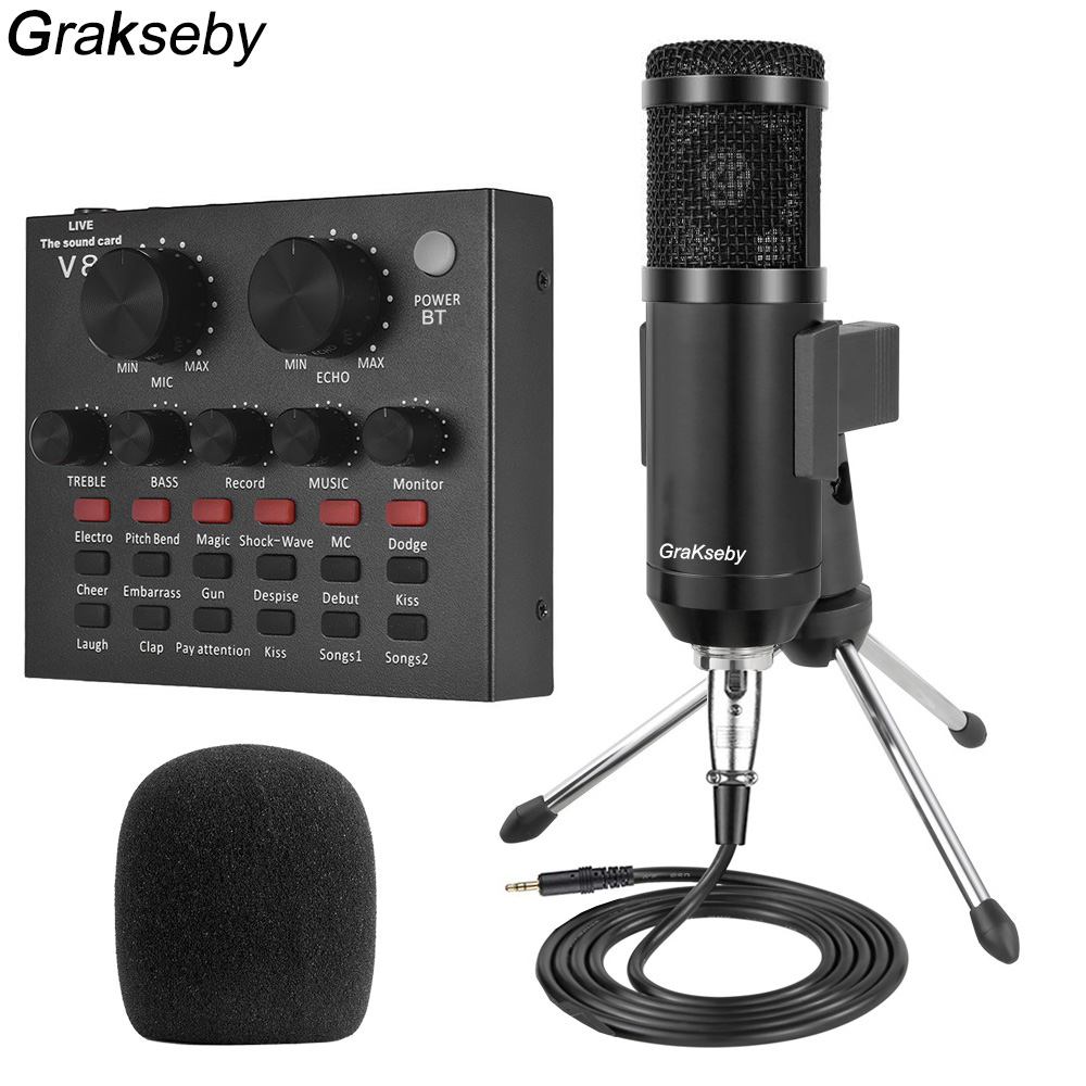 bm 800 microphone Pc With Live Sound Card And Tripod Professional Condenser Mic For Singing bm800 Mic With 48V Phantom Power