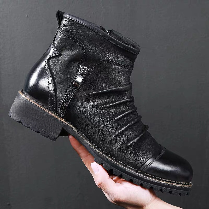 Merkmak New Winter Men Leather Boots Zipper Casual Ankle Boot Breathable Big Size 48 47 46 Male Motorcycle Boots Shoes Footwear