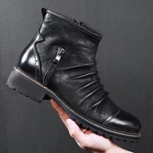 Merkmak New Winter Men Leather Boots Zipper Casual Ankle Boot Breathable Big Siz