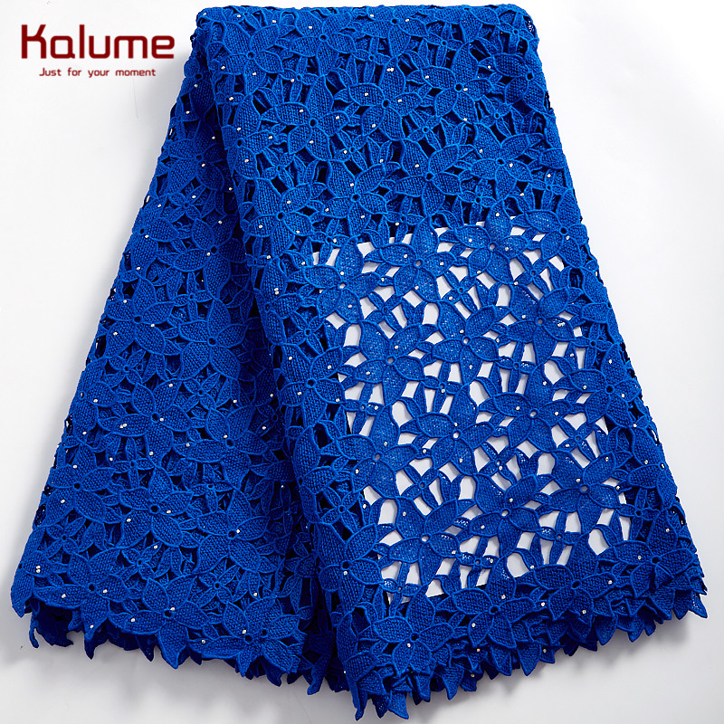 Kalume Guipure Lace Fabric 2021 African Cord Lace Fabric Stones Water Souble Cord Lace Fabric For Dresses Party Dress F2368