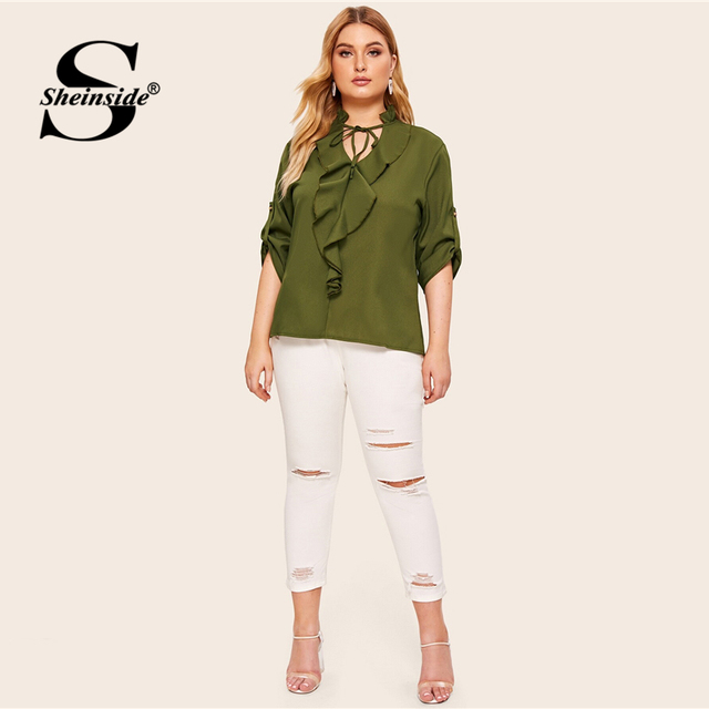 Sheinside Plus Size Casual Army Green Lace Up V Neck Blouse Women 2019 Autumn Roll Up Sleeve Blouses Ladies Ruffle Trim Top 3