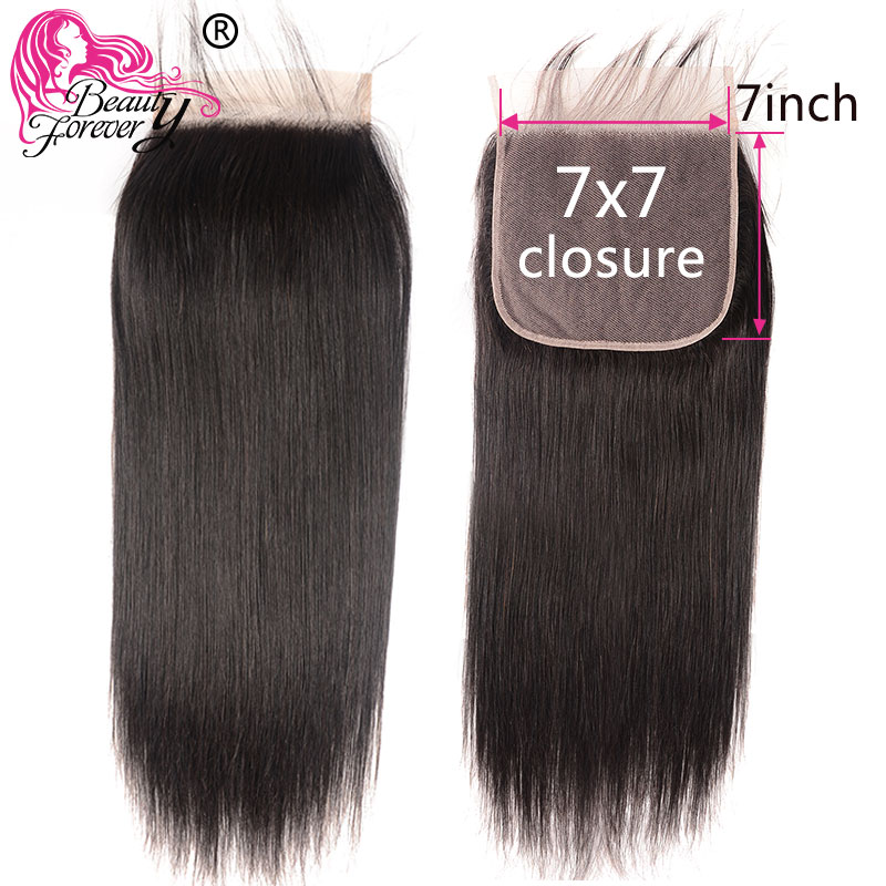 Beauty Forever Brazilian Hair Straight Lace Closure Remy Human Hair 7*7 Free Part Closure 130% Density Natural Color