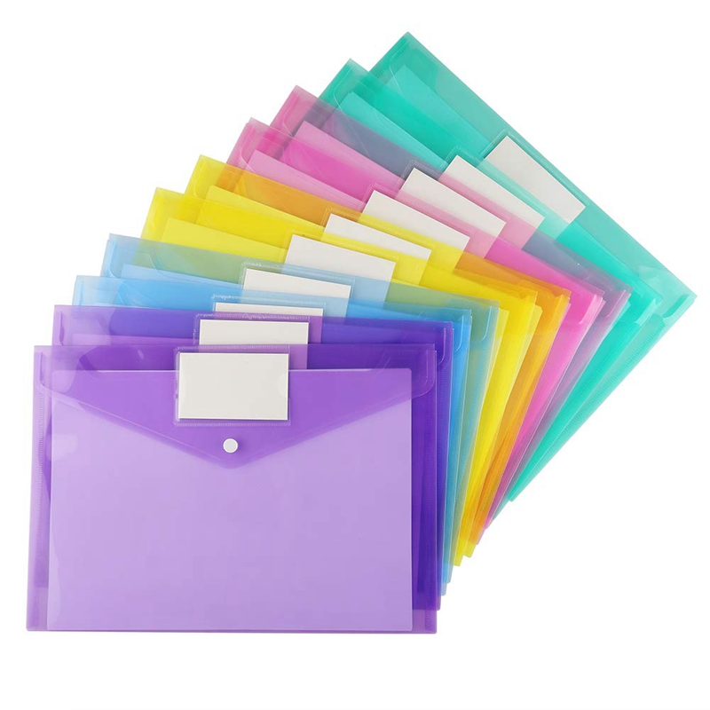 20 Pack PP Envelopes Poly Envelopes, Clear Document Folder A4 Size File Envelopes With Label Pocket & Snap Button For School Hom