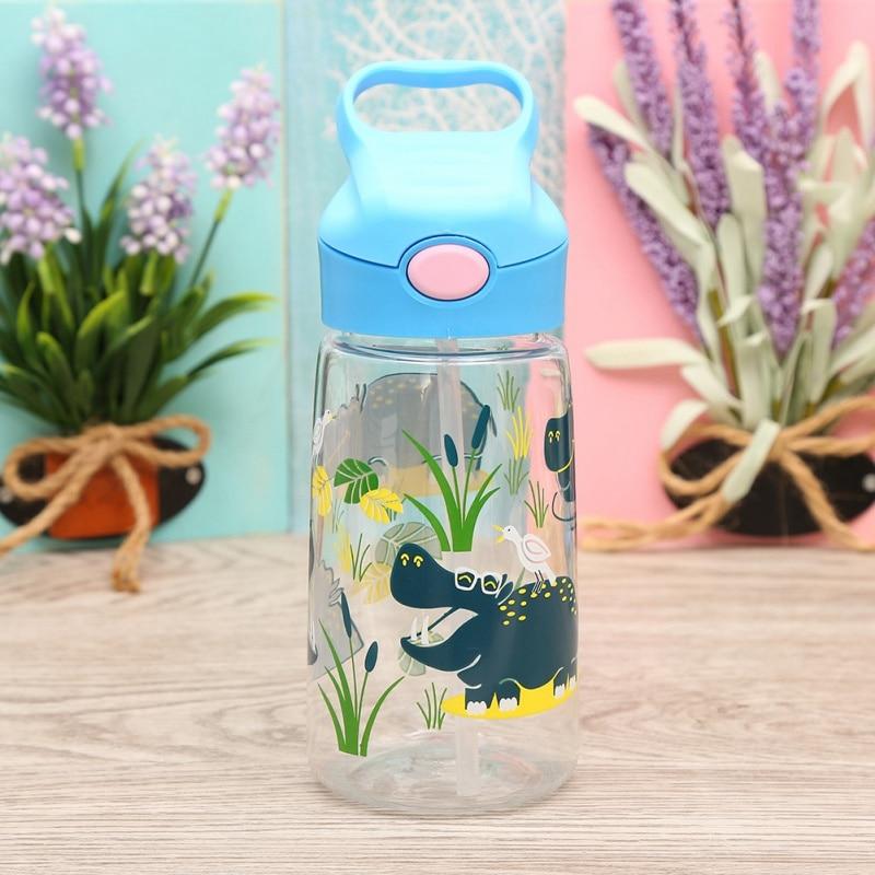 Cartoon Animal Kids Baby School Water Drinking Bottles Handle Strap Children Sippy Cups Newborn Straw Bouncing Kettle