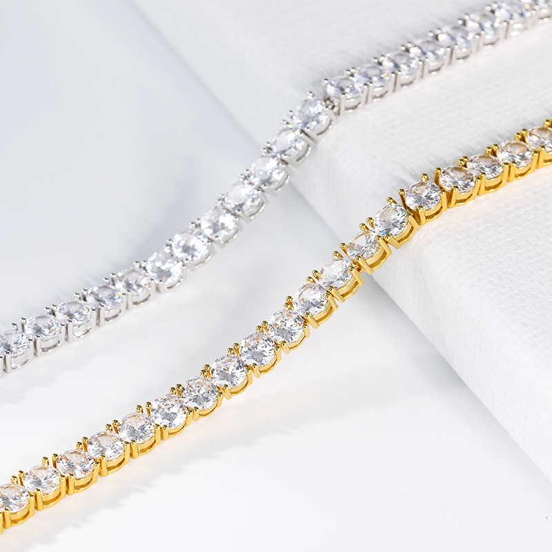 Iced Zircon Chain Bracelet Hip Hop Men Jewelry Stainless Steel Material Gold Silver Color Box Clasp CZ Bracelet Link 18cm