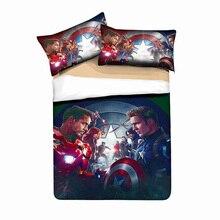 3D печать Мстители Железный человек Комплект постельного белья пододеяльник Набор наволочек одеяло Капитан Америка постельное белье