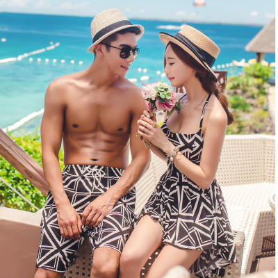 New Style Korean-style Cross Hot Springs Couples Swimwear Dress-Push Up Conservative Belly Covering Swimsuit