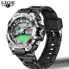 LIGE marka męski zegarek cyfrowy wojskowy Sport zegarki moda 50ATM wodoodporny elektroniczny zegarek na rękę mężczyzna Reloj Inteligente Hombre tanie tanio 23cm NONE STAINLESS STEEL CN (pochodzenie) Składane zapięcie z bezpieczeństwem 5Bar Cyfrowe Zegarki Na Rękę 45mm 17mm