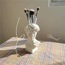 Vase Organizer Pen-Holder Art-Craft-Decor Makeup-Brush Flower-Pot David-Sculpture Resin