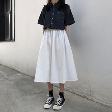 Cotton Casual Skirts Womens Solid A line Vintage High Waist Streetwear Cotton Lo