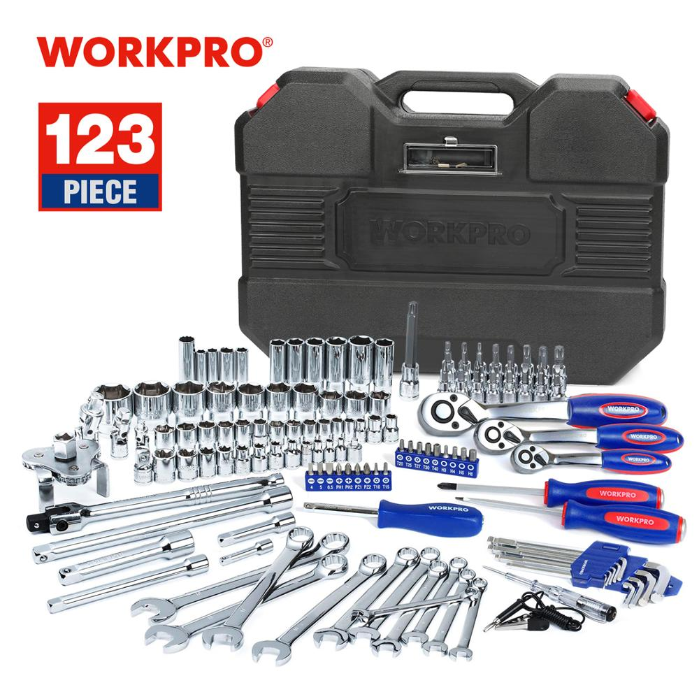 WORKPRO 123PC New Mechanic Tool Set for Car Home Tool Kits Quick Release Ratchet Handle Wrench Socket Set(China)