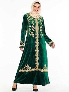 Image 4 - אלגנטי קטיפה שמלה מוסלמית נשים רקמת גדול נדנדה אונליין מקסי שמלת קימונו Jubah גלימת הדפסת העבאיה שמלות בגדים אסלאמיים