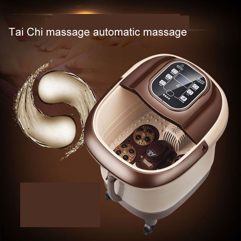 Tai Chi Style Automatic Massage Foot Bath Footbath Electric Heating Foaming Basin Deep Barrel Foot Washing|Massage Tables| |  - title=