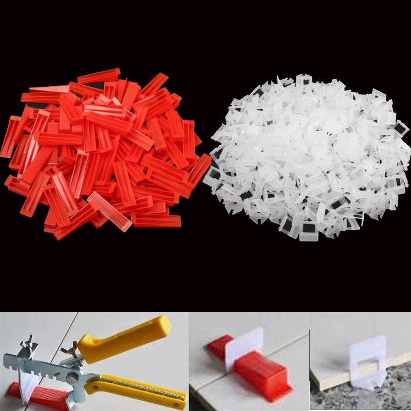300pcs Plastic Ceramic Tile Leveling System 200 Clips+100 Wedges Tiling Flooring Tools Wedges Clips 1mm