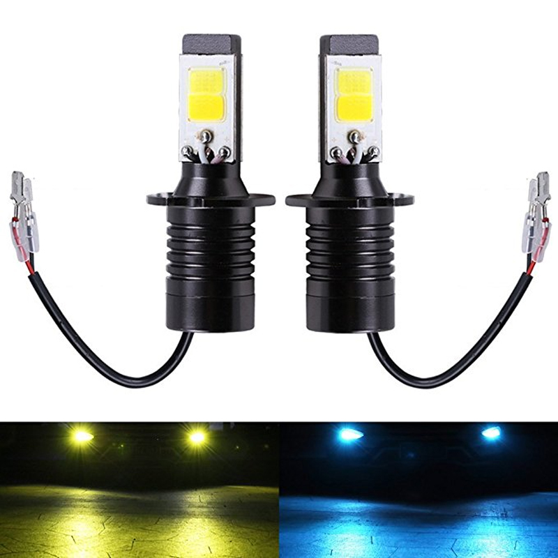 2PC H3 LED Bulbs Dual Color Auto Fog Lights Driving DRL Lamp H3 Car Lights White Yellow Ice Blue