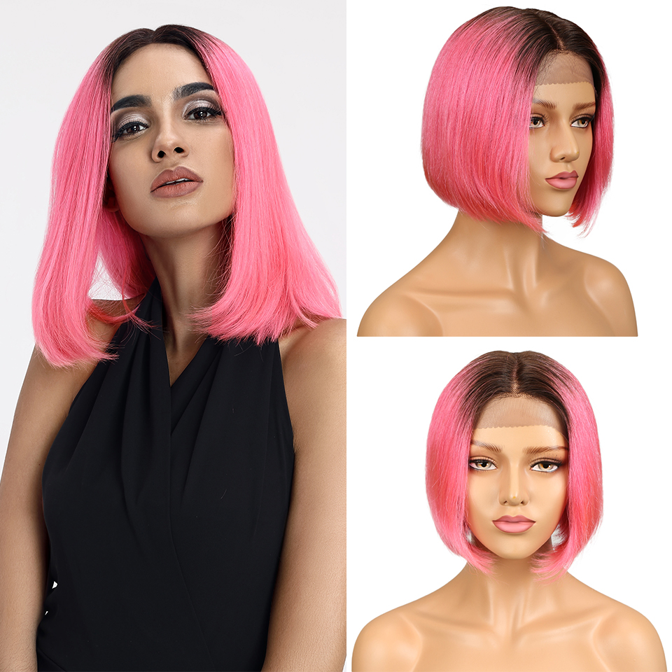 L Brazilian Straight Short Bob Ombre Lace Front Human Hair Wigs For Women 130% Density Pink Brick Red Color Middle Part Lace Wig