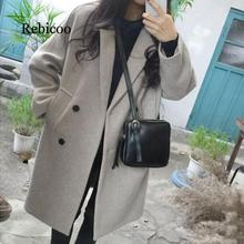 2019 new thin wool blend coat female long-sleeved lapel collar jacket casual autumn and winter elegant