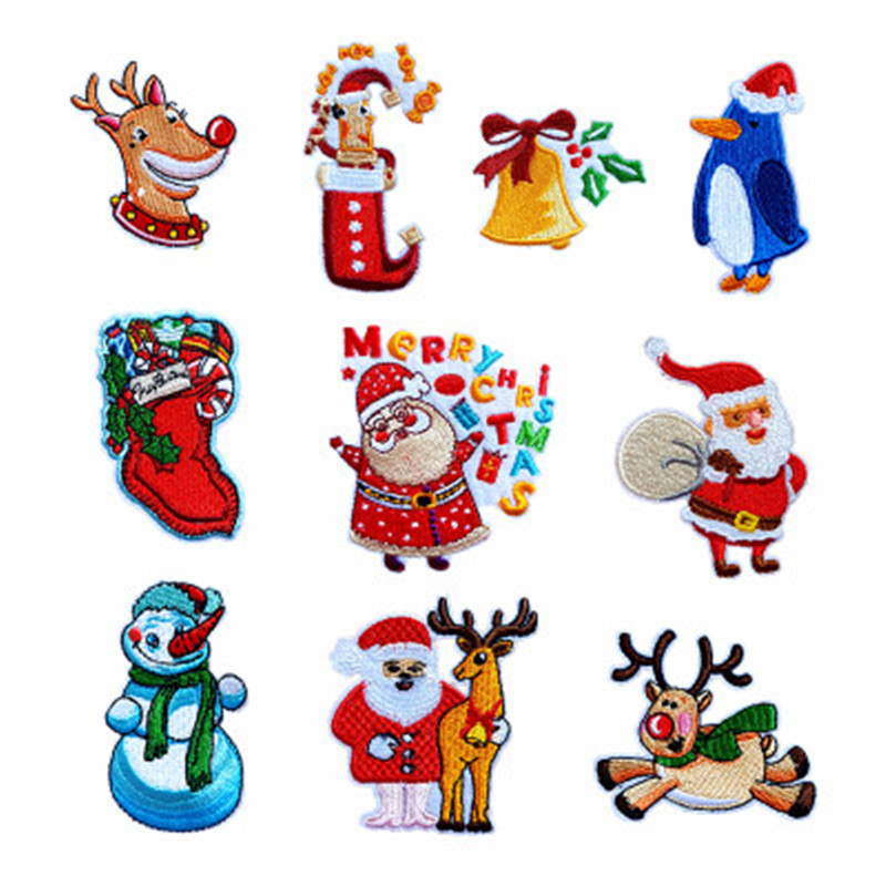 10pcs Christmas Series Embroidered Applique Creative Embroidered Badge DIY Clothes Bag Decoration Sticker