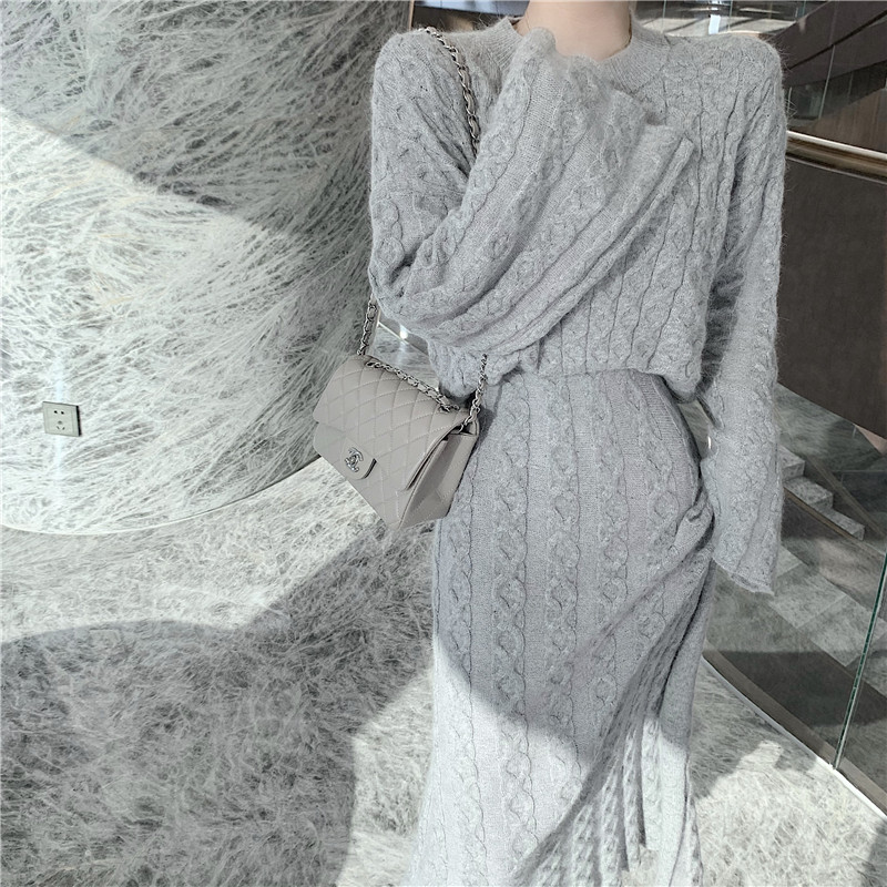 Hd87a8491de2f4a9799567f46db4720c25 - Autumn / Winter O-Neck Loose Grey Jumper and Knitted Maxi Skirt
