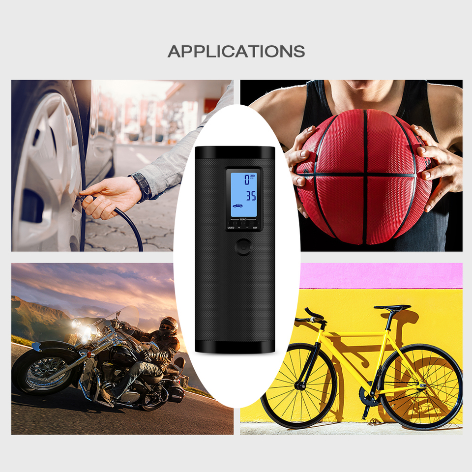 E-Bike Electric Bicycle Tire Air Compressor Car Pump USB Rechargeable Inflator