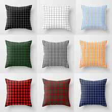 Double-sided Printing Polyester Decorative Throw Pillow Case White Black Checked Red Blue Plaid Cushion Cover for Sofa Car Home