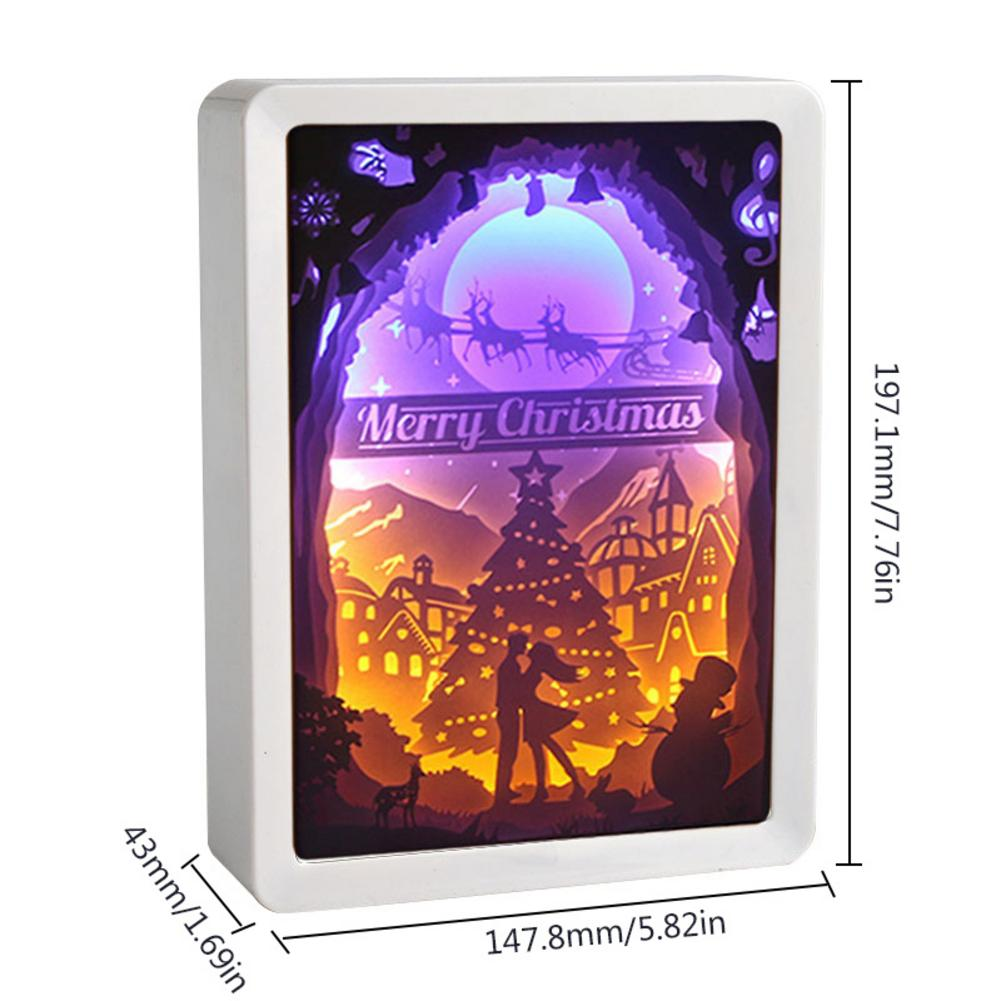 New 3D Creative Christmas Festival Event Paper Carving Crafts Ornaments Papercut Light Boxes Cut LED Desk Color Shadow Box Frame