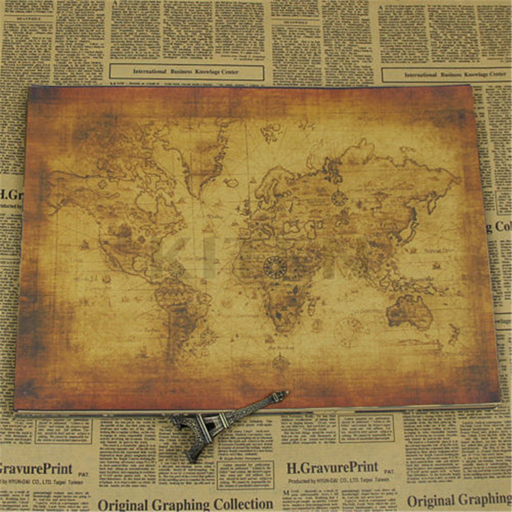 Large Vintage Style Retro Paper Poster Globe Old World Map Gifts School Office Supplies 71x51cm
