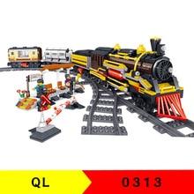 QL0313 City Series The Retro Cargo Train Model Figure Blocks Construction Building Bricks Toys For Children