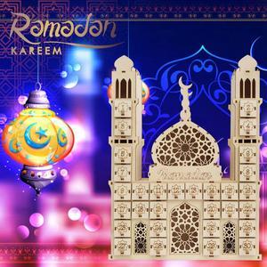 Image 1 - Taoup Place Wooden Ramadan Countdown Calendar DIY Crafts Pendants Eid Mubarak Accessories Ramandan Kareem Muslim Party Favors