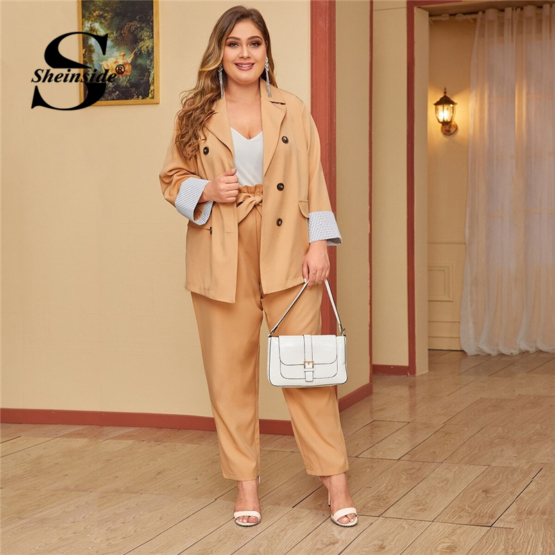 Sheinside Plus Size Double Breasted Blazer And Belted Pants Set Women 2019 Stripe Cuff Patchwork 2 Piece Set Ladies Workwear Set