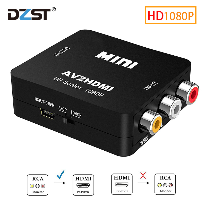DZLST RCA AV para HDMI Conversor Adaptador Para TV de Alta Qualidade HD 1080P AV2HDMI PS3 PS4 PC DVD Xbox projetor AV Para Conversor HDMI