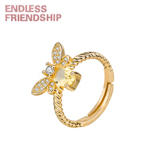 Endless Friendship Fashion Ring Crystal Golden Bee Rings For Women Open Adjustable Design Gold Jewelry Girl Gift Accessories