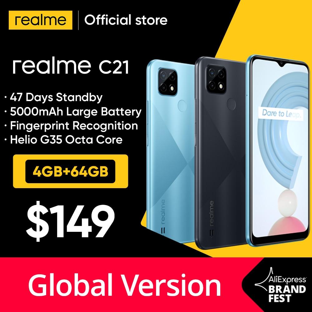 [World Premiere In Stock] Global Version realme C21 Smartphone Helio G35 Octa Core 64GB 6.5