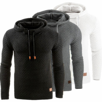2019 autumn and winter new European and American men's jacquard long-sleeved men's warm hooded sweatshirt jacket