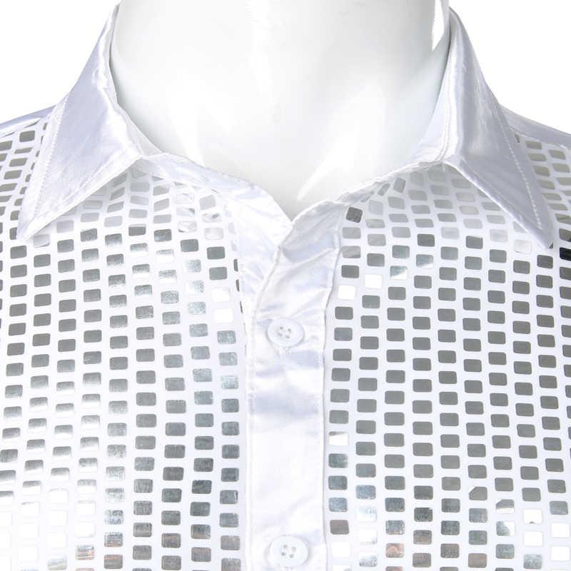 Camisa de lentejuelas brillantes de plata de lujo para hombre 2019 nuevo vestido de satén de seda para hombre Camisas Chemise Homme camisas