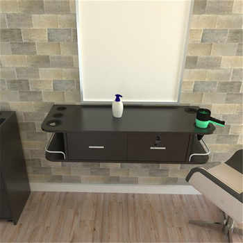 Two Smoke Wall - Mounted Beauty Salon Table Black