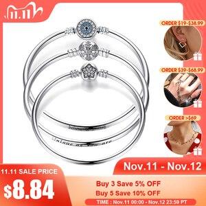 Image 1 - BISAER 925 argent Sterling Pulseira flocon de neige bracelets 925 coeur serpent chaîne fermoir femme argent bracelet pour femmes bijoux